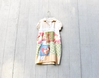 Summer Tunic, Up Cycled Clothing, Floral Tunic, Cotton Dress, Knee Length, Light Weight, Summer Dress, Reclaimed, Upcycled, CreoleSha