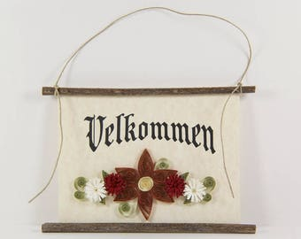 Velkommen, Danish Welcome, Paper Quilled Denmark Welcome Sign, 3D Quilled Banner, Brown Red White Decor, Denmark Gift, Danish Wall Art
