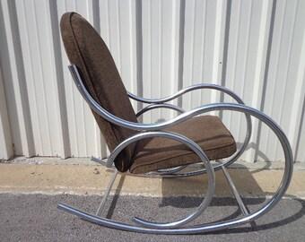 Mid Century Modern Chrome Bentwood Inspired Rocker Armchair Rocking Chair MCM Milo Baughman Inspired armchair midcentury chair Nursery