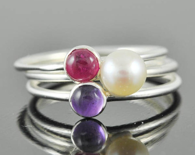 White pearl ring, gemstone ring, stacking ring, june birthstone ring, bridesmaid gift, cocktail ring, personalized ring