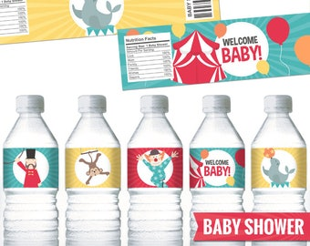 Circus Water Bottle Labels. Gender Neutral Baby Shower Bottle Labels. Printable Wrappers - Wraps. Bottle Covers. Carnival Labels