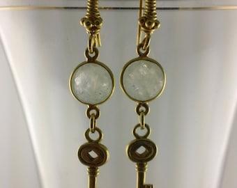 Steampunk I: Moonstone and Gold Skeleton Key .Moonstone Earrings, Key, Steampunk