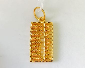 22k solid 916 gold abacus pendant