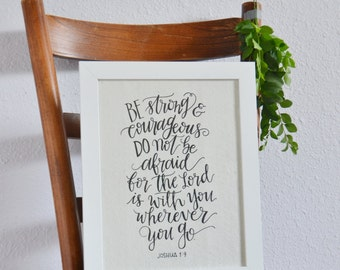 Art Print on Handcrafted Paper - Joshua 1:9 Bible Verse -Calligraphy Wall Art -Inspirational Quote -Be Strong & Courageous Home Decor