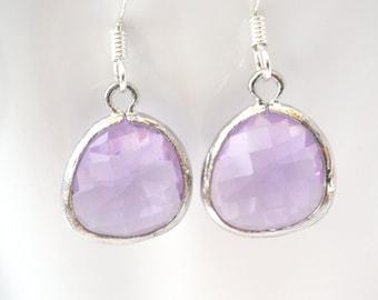 Lavender Earrings, Light Purple Earrings, Silver Earrings, Soft Purple Lilac, Bridesmaid Earrings, Bridal Earrings Jewelry, Bridesmaid Gift