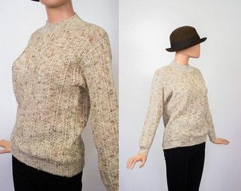 Vintage Cable Knit Sweater / Oatmeal Knit Top / Fisherman / Coffee  + Cream / Cozy / 1970s Alpine / Ski / Cabin / 70s Boho / Small / Medium