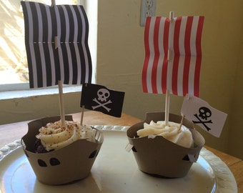 Ship and Pirate Ship Cupcake Wrappers and Toppers