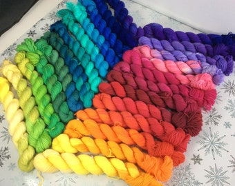 Hand dyed yarn mini skeins set rainbow merino/nylon Superwash yarn/wool /Uk dyer/ knit/ crochet/ mini set