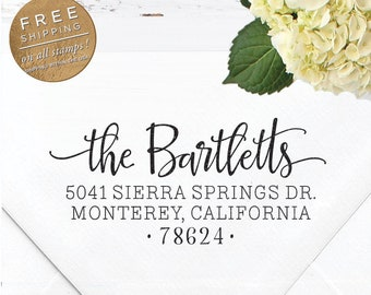 Custom Address Stamp, Self Inking Return Address Stamp, Wedding Stamp, Calligraphy Address Stamp, Custom Stamp - Bartlett