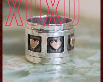 Valentines Ring, sterling silver band, triple-heart ring, gold hearts ring, oxidized silver ring, wide silver band - Live laugh love. R1281