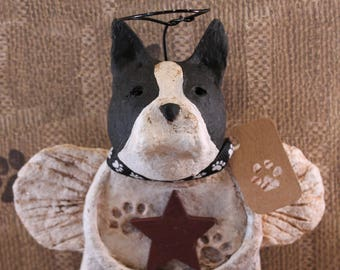 Boston Terrier Angel,OOAK, Handmade from papier mache, Boston Angel, Terrier Angel, Boston Terrier Statue