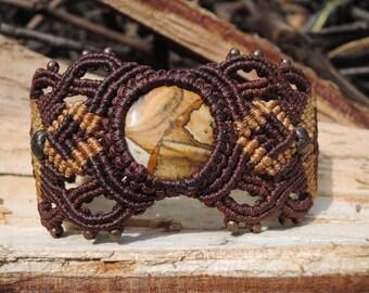 Boho bracelet for women gift Macrame bracelet Tribal bracelet Elegant Boho Jewelry Rustic bracelet with stones Gypsy bracelet Wide bracelet