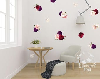 Flower Rose, vintage, applied flower wall art, vinyl wall sticker decoration