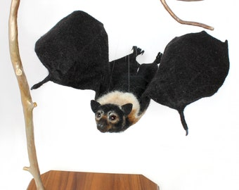 Flying Fox Bat, Bat, Needle Felted, Sculpture, Art, Wildlife Art