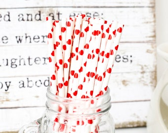 Red Heart Paper Straws, Beautiful Red Heart Straws for Wedding or Birthday Celebration, Heart Straws, Heart, Paper Straws, Wedding Straws