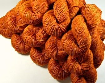 Hand Dyed Yarn, DK Weight Superwash Merino Wool - Copper - Semi-Solid Knitting Yarn, Wool Yarn, Single Ply Yarn, Tonal Orange