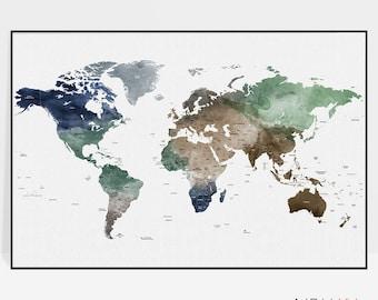 Large world map poster, world map art, travel map, watercolor, travel gift, travel decor, office decor, ArtPrintsVicky.