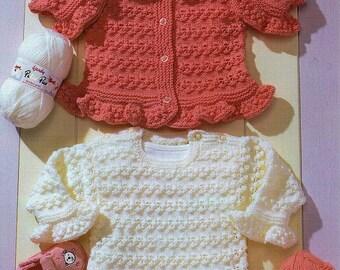 KNITTING PATTERN, Frill Hem Cardigan, Vintage Pattern, Cardigan in  Double Knitting Yarn, Jumper Knitting Pattern, girl's knitting pattern