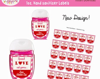 VALENTINES DAY Instant Download  1 oz. Hand Sanitizer Label Favors -class gifts - New Design
