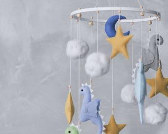 Dragon Baby Mobile - Baby Boy Mobile - Star Mobile - Dragon Nursery Decor - Fantasy Nursery - Dragon Baby Shower Gift - Crib Mobile
