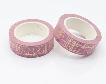 Blush pink and gold foil lines washi tape – gold foil washi, planner accessories, crafts, scrapbooking, planning, card making