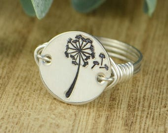 Dandelion Wish Ring- Hand Stamped Silver, Yellow, OR Rose Gold Filled Wire Wrapped Ring- Any Size 4, 5, 6, 7, 8, 9, 10, 11, 12, 13, 14