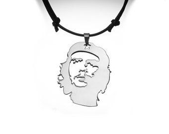 Che Stainless Steel Pendant  Silver Color Necklace with Adjustable Cord