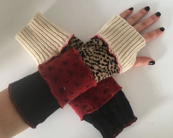 Upcycled fingerless gloves, wrist warmers, arm warmers, typing gloves, thumbhole gloves