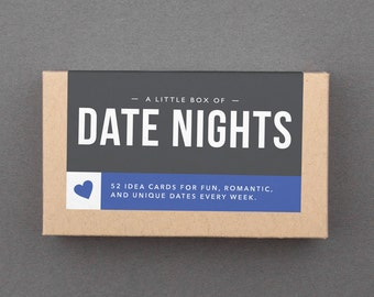 """Romantic First Paper Anniversary Gift. Like Love Coupons, Date Night Box. For Husband, Wife, Boyfriend, Girlfriend. """"Great Dates"""" (L5DAT)"""