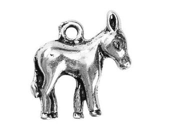 5 Donkey Mule Animal Antique Silver Charms Pendants 15mm x 17mm (006)