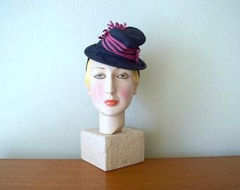1930s 1940s tilt hat . vintage 30s 40s hat