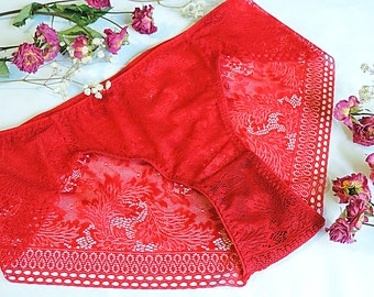 Red Lace lingerie,Lace underwear,Lace boyshorts,Booty short,Lace panty,French lace by Lacy touch for you