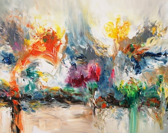 "Large abstract painting 61.0 "" x 33.5 "" colorful one of original acrylic, artist Peter Nottrott."