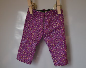 18 inch Doll Clothes - Brambleberry Patch Capris - PURPLE NAVY YELLOW - fits American Girl