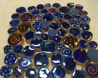 Night Sky Navy Dark Blue Ceramic Mosaic Tile Variety Pack Handcut Tiles