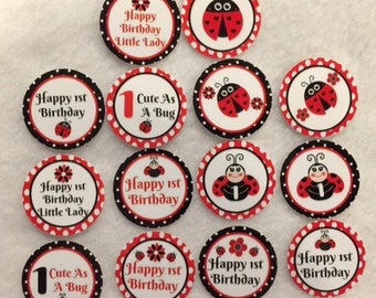 Set of 50/100/150/200 Personalized Ladybug 1st Birthday Party  1 Inch Confetti Circles