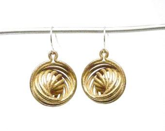 Nautilus Earrings (3D Printed Steel, Bronze or Gold)