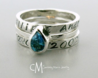Mothers Ring set - Stackable Name Rings - Stackable Birthstone Ring - Silver Stacking Rings - Pear Shape Stone - Push Present