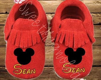 Personalized Red Mickey Mouse Inspired Baby Moccasin Shoes