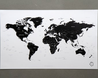White and Black World Map Ver. 2