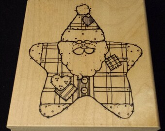 "D.O.T.S. Big Star Santa 4-1/2"" x 4"" Rubber/Wood Stamp CLEAN"