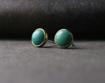 Untreated natural turquoise and 18k yellow gold bezel set stud earrings 6mm