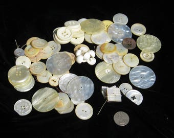 Vintage Buttons for Crafting, Lot # 1, 9 oz of vintage buttons