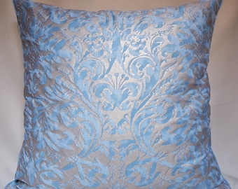 Throw Pillow Cushion Cover Fortuny Fabric Brilliant Blue & Silvery Gold Sevres Pattern - Made in Italy