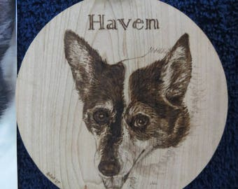 Pet Portrait Wood Burn Solid maple Ornament Made to Order using provided photo by Shannon Ivins