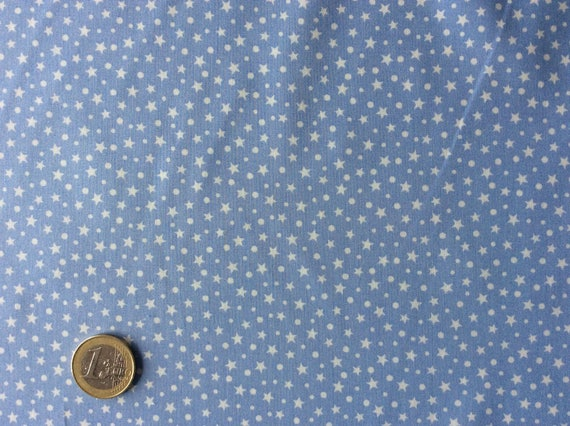 High quality cotton print, white stars in lavender blue