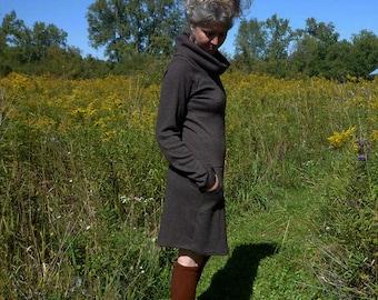 Organic Clothing Sweater Dress with Pockets Womens Clothing Cowl Neck Merino Wool Winter Dress Eco Fashion Merino Wool Dress Woodland Dress