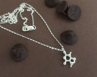 tiny theobromine chcolocate molecule necklace in solid sterling silver