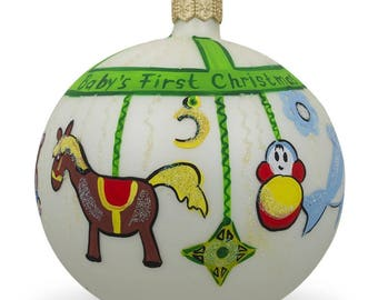 """4"""" Toy Mobile Glass Ball Baby's First Christmas Ornament"""