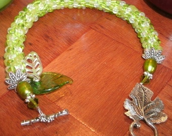 Spring Green Bead Crochet Hand Beaded Bangle Bracelet Leaf Charms